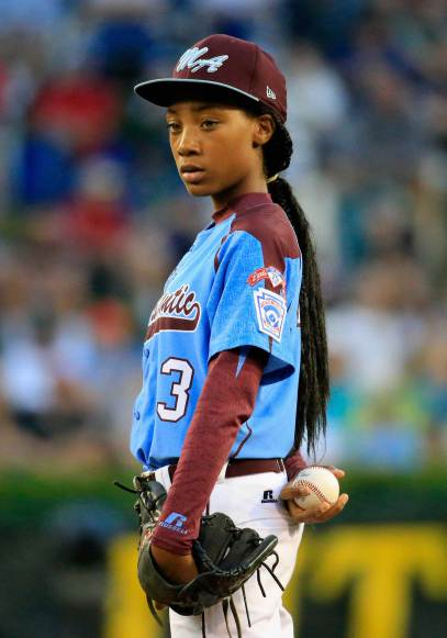 SOUTH WILLIAMSPORT, PA - AUGUST 20: Mo'ne Davis #3 of Pennsylvania waits to pitch to a Nevada batter during the United States division game at the Little League World Series tournament at Lamade Stadium on August 20, 2014 in South Williamsport, Pennsylvania. (Photo by Rob Carr/Getty Images) *** Local Caption *** Mo'ne Davis