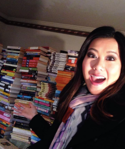 ABC2's Trang Do with Project READ's books.