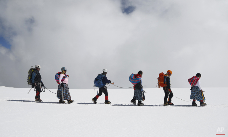 APTOPIX Bolivia Cholita Mountain Climbers Photo Gallery